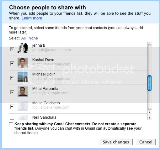 Google Reader Friend picker