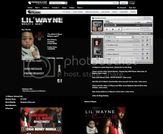 Screenshot MySpace Music