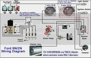 8n front mount wiring diagram with 12 volt conv  Ford 9N
