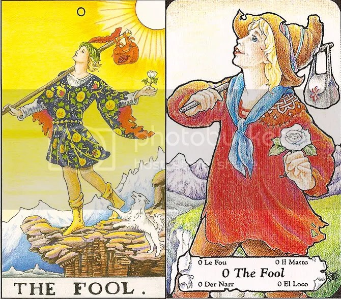 The Fool from the Rider-Waite and Hanson-Roberts decks