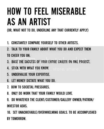 how to feel miserable as an artist