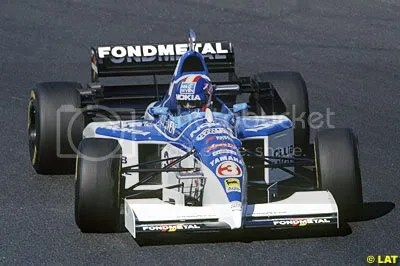 Ukyo Katayama in the 1995 Tyrrell with Nokia sponsorship clearly visible