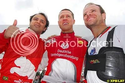 Massa, Schumacher and Barrichello