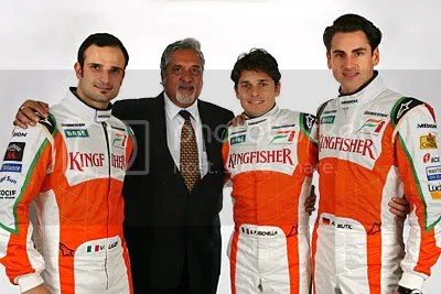 Vitantonio Liuzzi, Vijay Mallya, Giancarlo Fisichella, Adrian Sutil