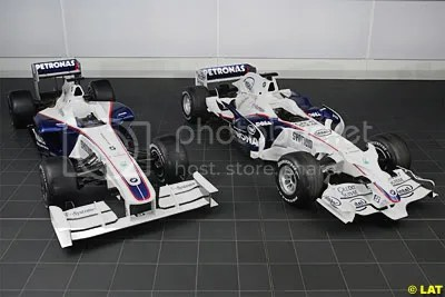Comparison of the BMW Sauber F1.09 (Left, 2009) and the BMW Sauber F1.08 (Right, 2008)