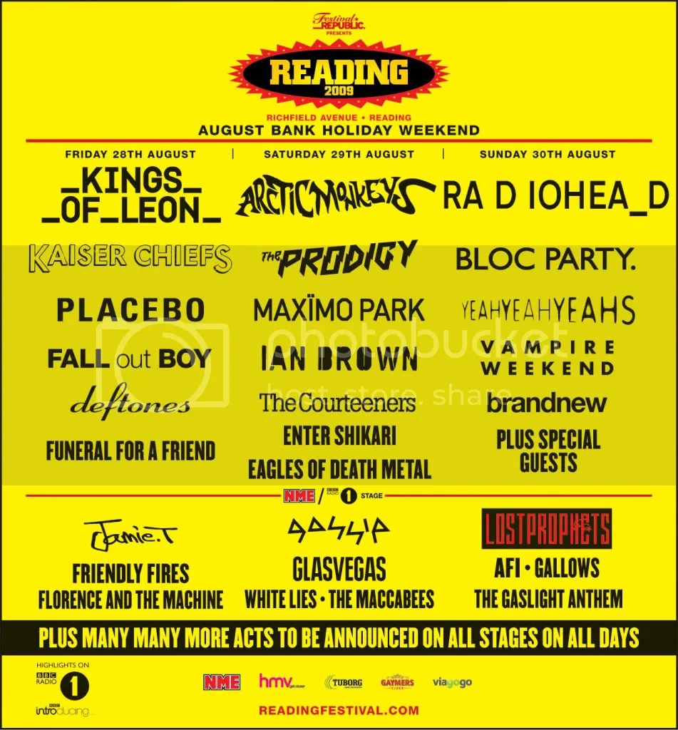 Reading Festival line up 2009 Pictures, Images and Photos