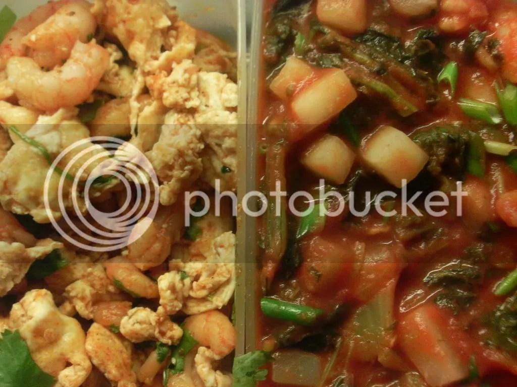 Munakokkeli ja chili-korianteri-katkarapuja ja Nauris-naatti-katkarapucurry