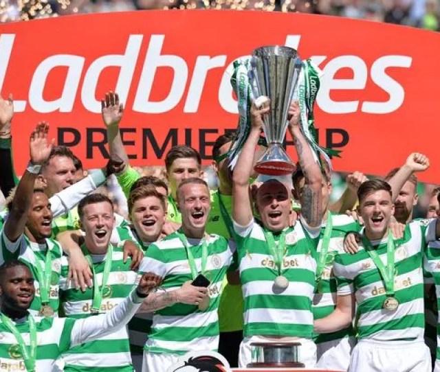 Celtic Captain Scott Brown Lifts The Premiership Trophy Last Season Image Mark Runnacles Getty Images