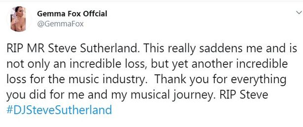 Singer songwriter Gemma Fox tweeted about the untimely passing