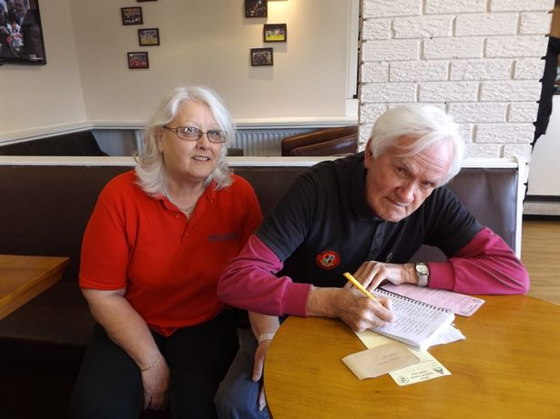 Bill Shaw, in his Walsall Wood polo shirt, with wife Lynn in 2017