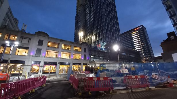 Moda Living's future 42-storey Mercian tower rises above Lee Longlands furniture store on Broad Street