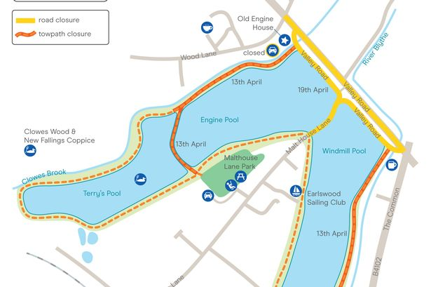 A Canal and River Trust provisional map of the Earlswood Lakes - the 70-acre site is about to undergo a major renovation programme that will disrupt the area until possibly November