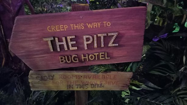 A sign for The Pitz Bug Hotel at Treetop Adventure Golf in the Bullring, Birmingham