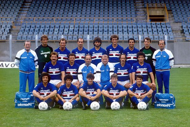 The 1984-85 Sampdoria team (back row r-l) Roberto Bocchino, TREVOR FRANCIS, Alessandro Scanziani, Luca Pellegrini, Alessandro Renica, Roberto Galia, Ivano Bordon, (central row l-r) GRAEME SOUNESS, Pietro Vierchowod, Narciso Pezzotti, Eugenio Bersellini, Francesco Casagrande, GIANLUCA VIALLI, (front row l-r) Evaristo Beccalossi, Fausto Salsano, ROBERTO MANCINI, Moreno Mannini, Fausto Pari
