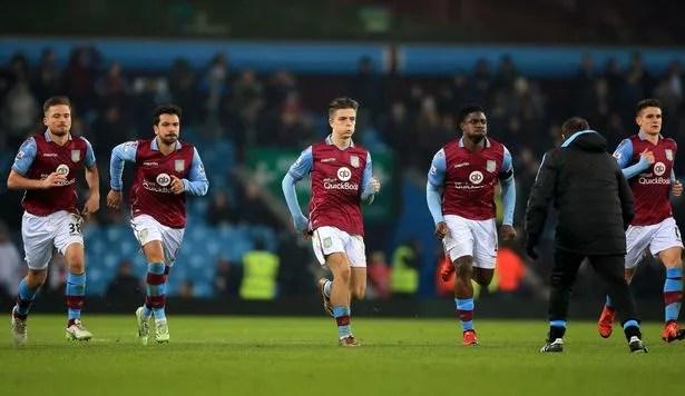 Jordan Lyden, Kieran Richardson, Jack Grealish, Micah Richards and Ashley Westwood of Aston Villa