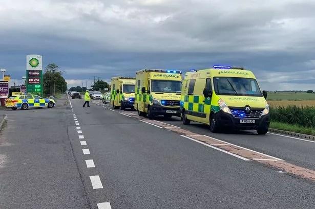 Wiele osób zostało zabranych do szpitala na A47