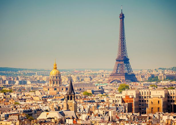 A view of Paris, with the Eiffel Tower.