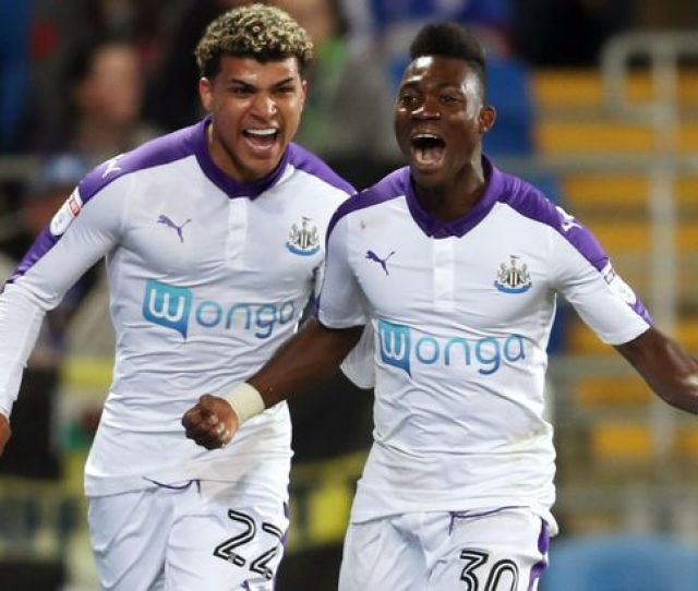 Christian Atsu Celebrates Scoring His Sides First Goal Of The Game With Deandre Yedlin During Match
