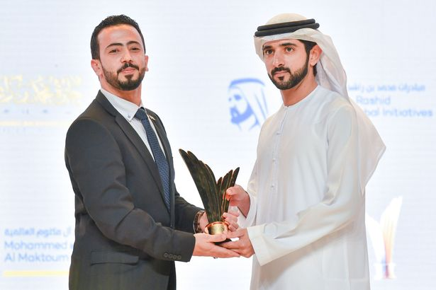 Abedalrahman Al-Zghoul, founder of Bread for Education, is presented with his Youth Entrepreneurship award for Community Entrepreneurship presented by His Highness Sheikh Mohammed Bin Rashid Al Maktoum