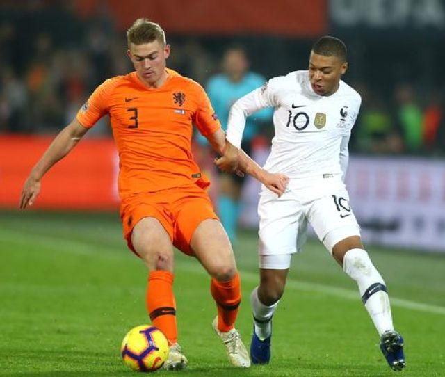 Matthijs De Ligt Of The Netherlands Is Challenged By Kylian Mbappe Of France