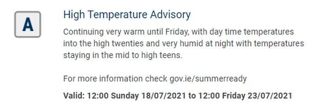Cork Weather: Met Eireann issues rare High Temperature warning as heatwave extended - Cork Beo