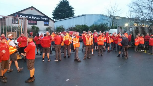 Postal workers outside the St Austell sorting office