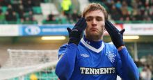 0 Rangers Jelavic celebrates scoring his second goal against Hibernian during their Scottish Premier