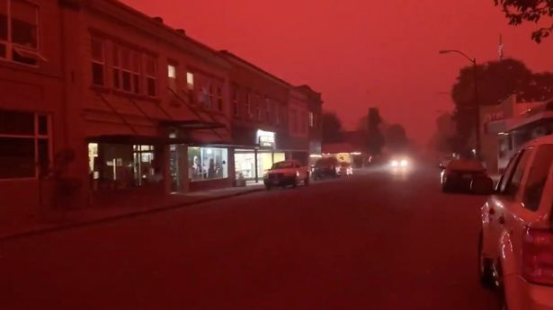 Reporter Christine said she could see ash filling up the sky and the air smell of smoke