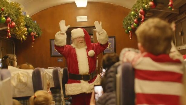 Santa will even visit the kids on the train