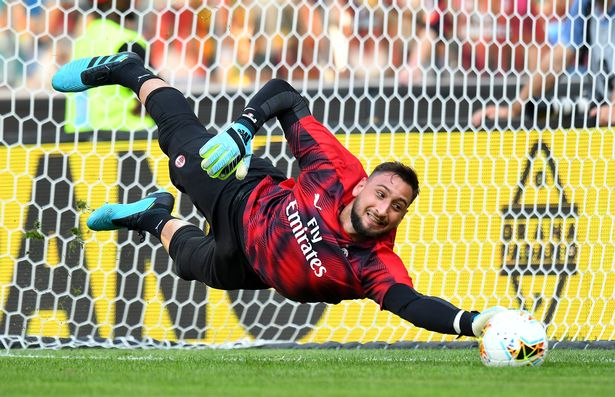Gianluigi Donnarumma of AC MIlan in action during the Serie A match between Udinese Calcio and AC Milan at Stadio Friuli on August 25, 2019 in Udine, Italy