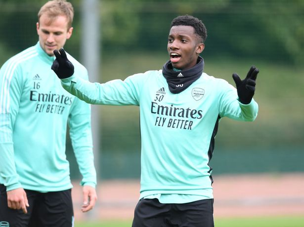 Eddie Nketiah of Arsenal during a training session at London Colney on May 22, 2021 in St Albans, Englan