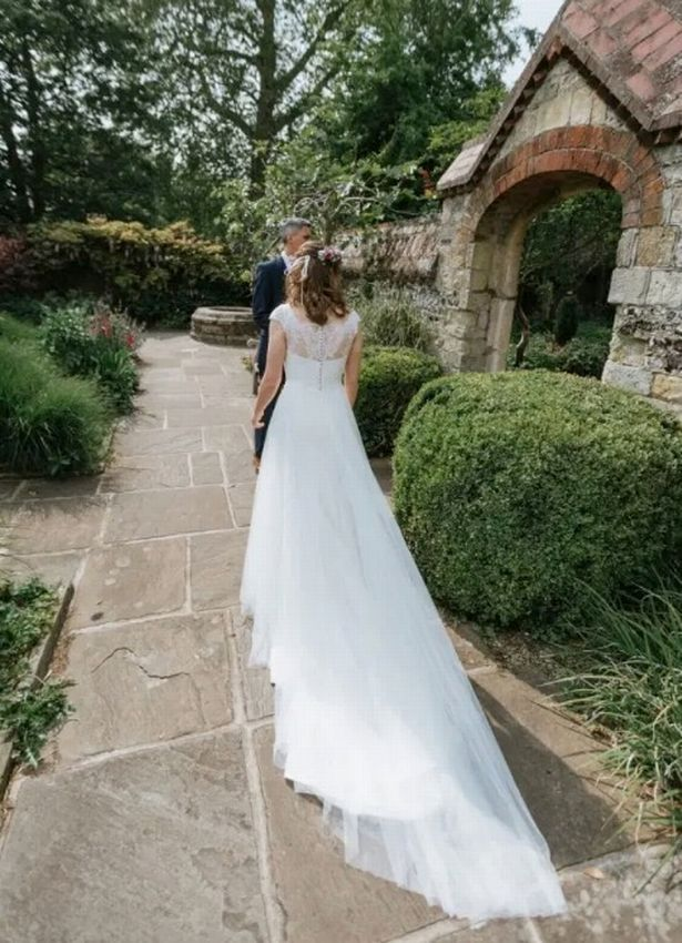 Laura in her wedding dress