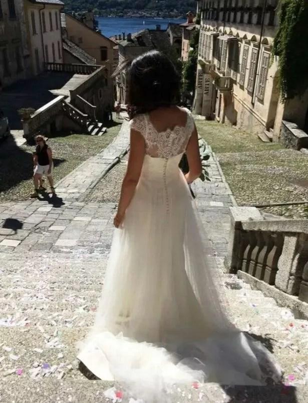 Fran in her wedding dress