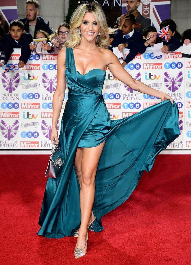 Ashley's dress was held up by sheer luck as she walked the red carpet