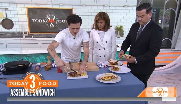Brooklyn appeared on the Today Show to make a breakfast sandwich