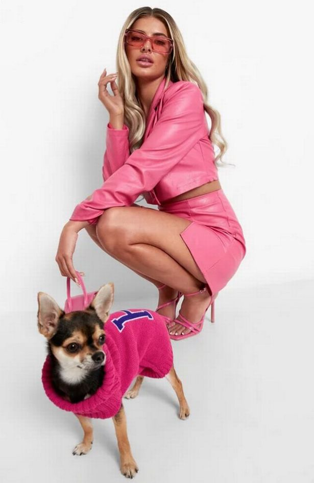 Model and dog wear Legally Blonde Halloween costumes