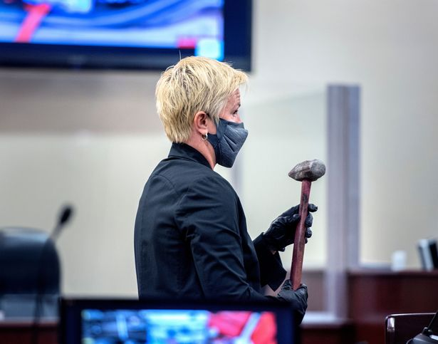 District Attorney Mary Carmack-Altwies showed the court the sledgehammer used to beat Jeremiah