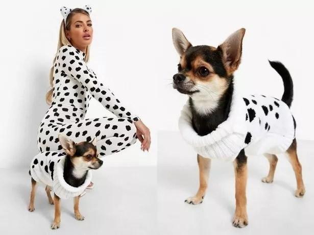 Model and dog wear 101 Dalmatian Halloween costumes
