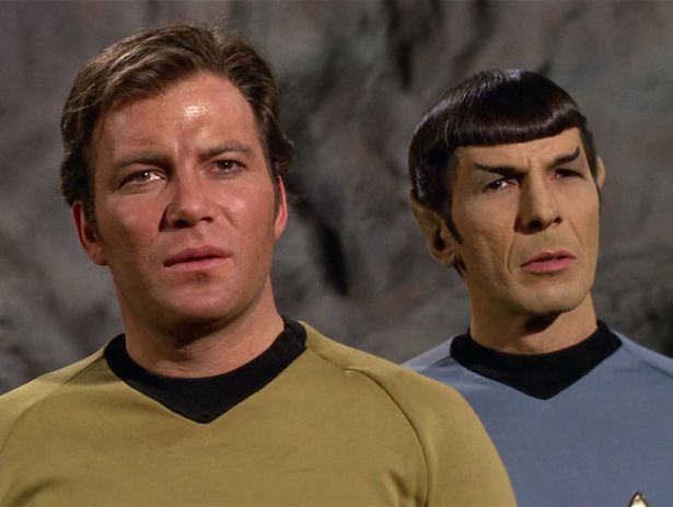 """LOS ANGELES - FEBRUARY 28: William Shatner as Captain James T. Kirk and Leonard Nimoy as Mr. Spock in the STAR TREK: THE ORIGINAL SERIES episode, """"The Cloud Minders."""" Season 3, episode 21. Original air date, February 28, 1969. Image is a frame grab. (Photo by CBS via Getty Images)"""