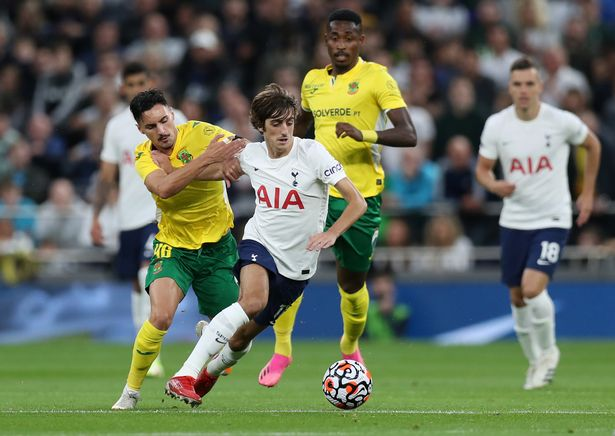 Bryan Gil in action during the Europa Conference League Play-Offs second leg match between Tottenham Hotspur and Pacos de Ferreira.