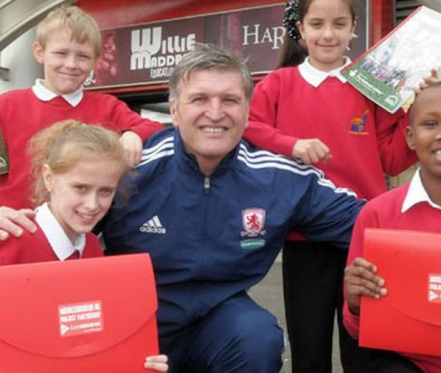 Ex Player Gary Gill Is Pictured With Ayresome Primary School Pupils