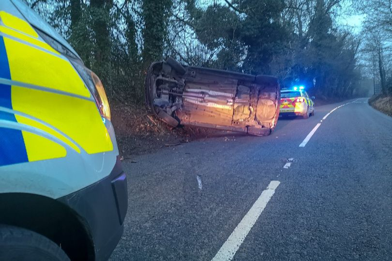 The overturned car