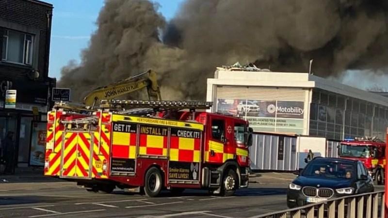 fire engines, building,fire,Watford, Hertfordshire