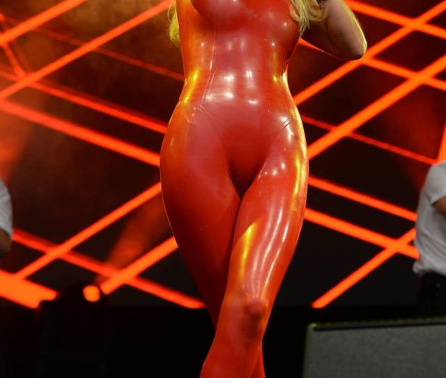 Sarah Harding Performs In A Red Pvc Suit On The Main Stage At Manchester Pride The