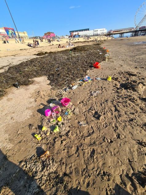 Buckets and spades left behind on the beach over the hottest weekend of the year