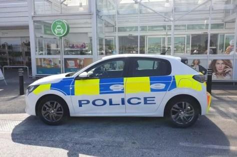 Police outside Asda in Blackpool