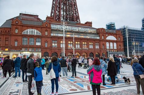 Crowds gathered on the Comedy Carpet hours in advance of the big switch on