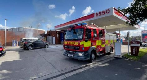 Car on fire at Bispham petrol station causes the forecourt to be evacuated as emergency services were called to the scene
