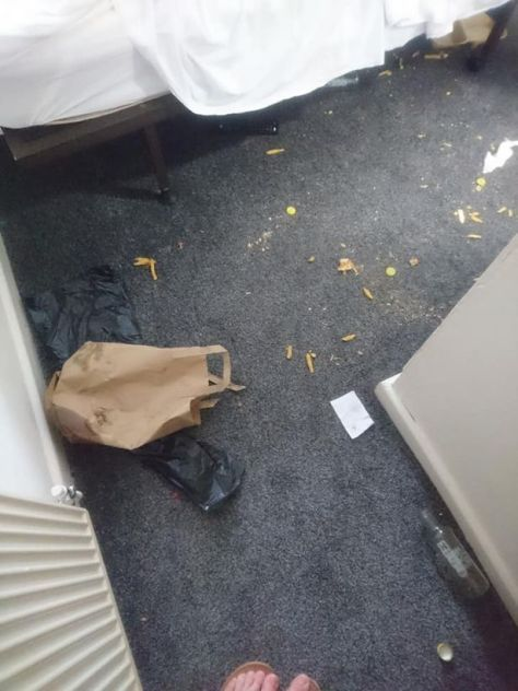 Take away food strewn across hotel room after two men stayed