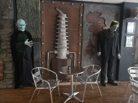 Nosferatu and Frankenstein chilling in the Crypt, Blackpool